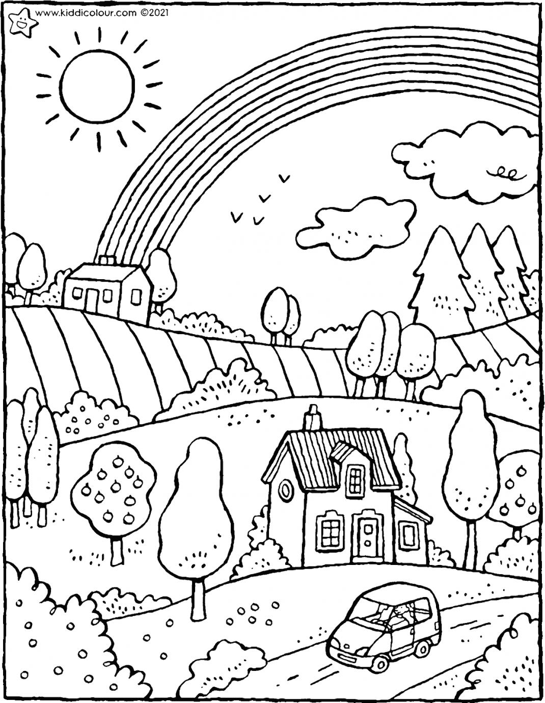 landscape with rainbow colouring page drawing picture 01V