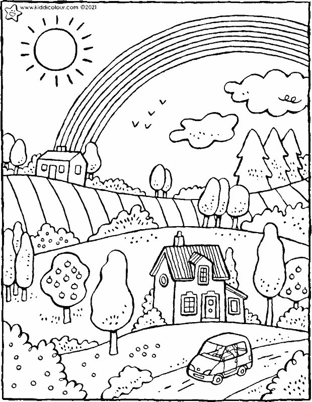 landscape with rainbow colouring page drawing picture 01k