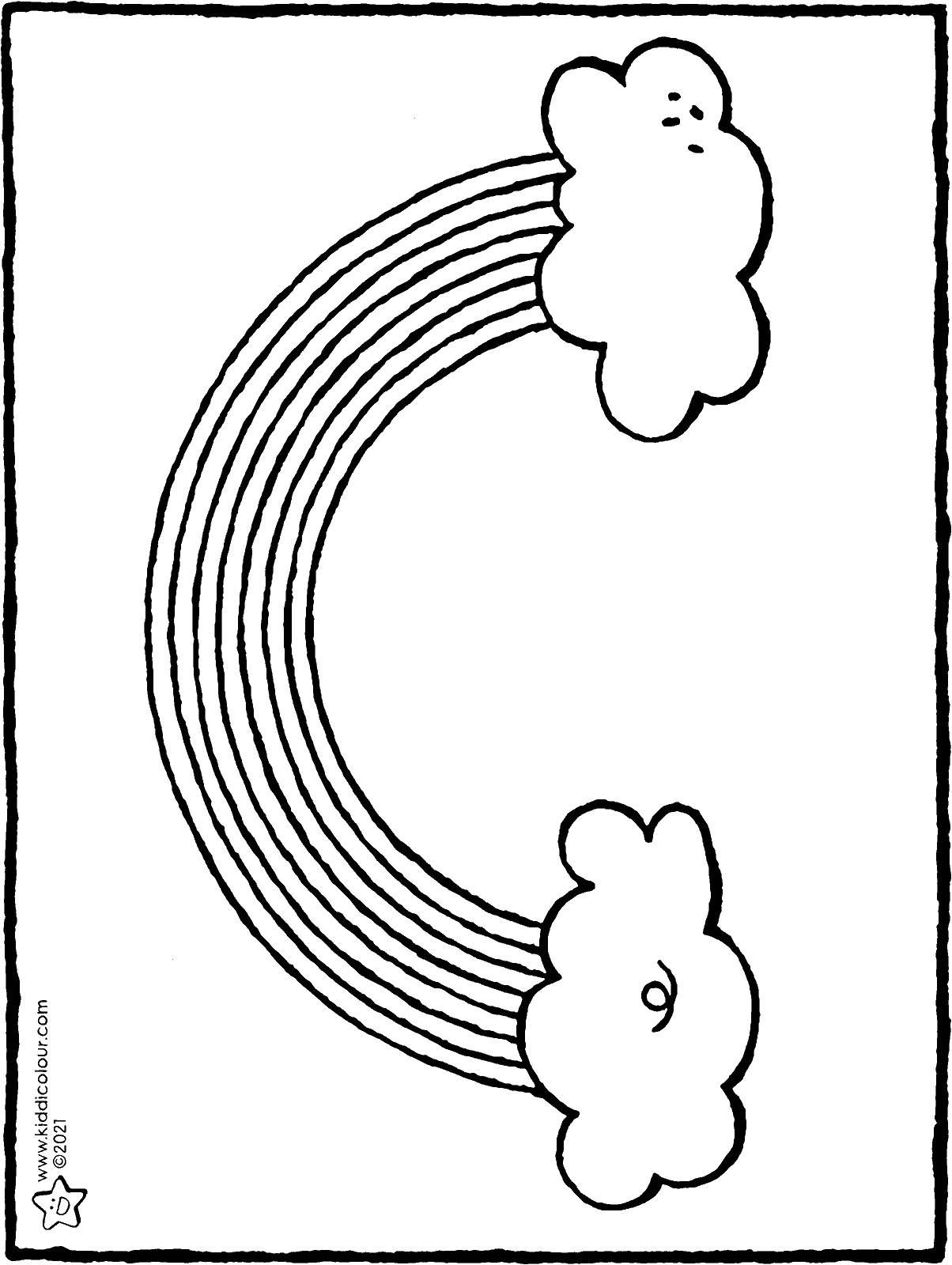 rainbow colouring page drawing picture 01H