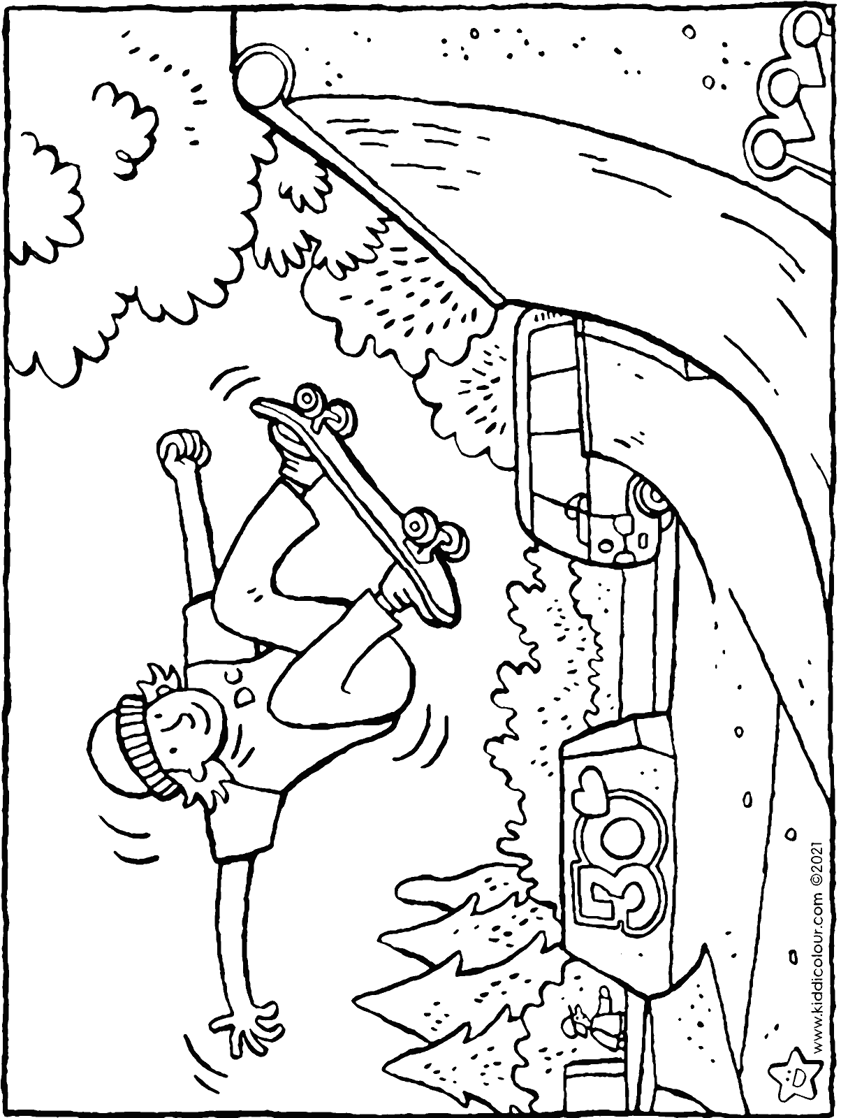 skateboarding in the skatepark colouring page drawing picture 01H