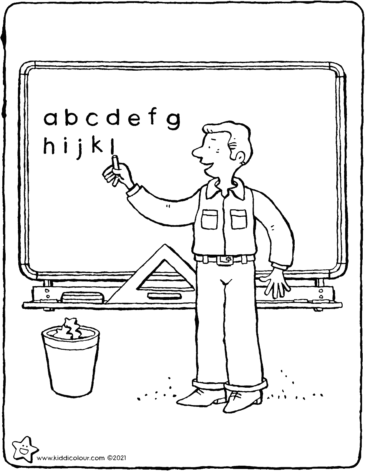teacher in front of the blackboard colouring page drawing picture 01V