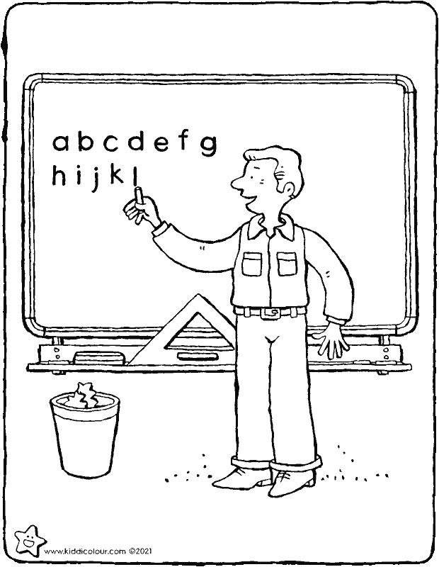 teacher in front of the blackboard colouring page drawing picture 01k