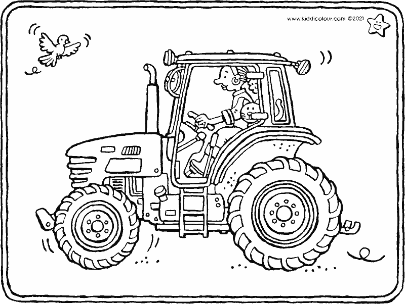 tractor colouring page drawing picture 01k