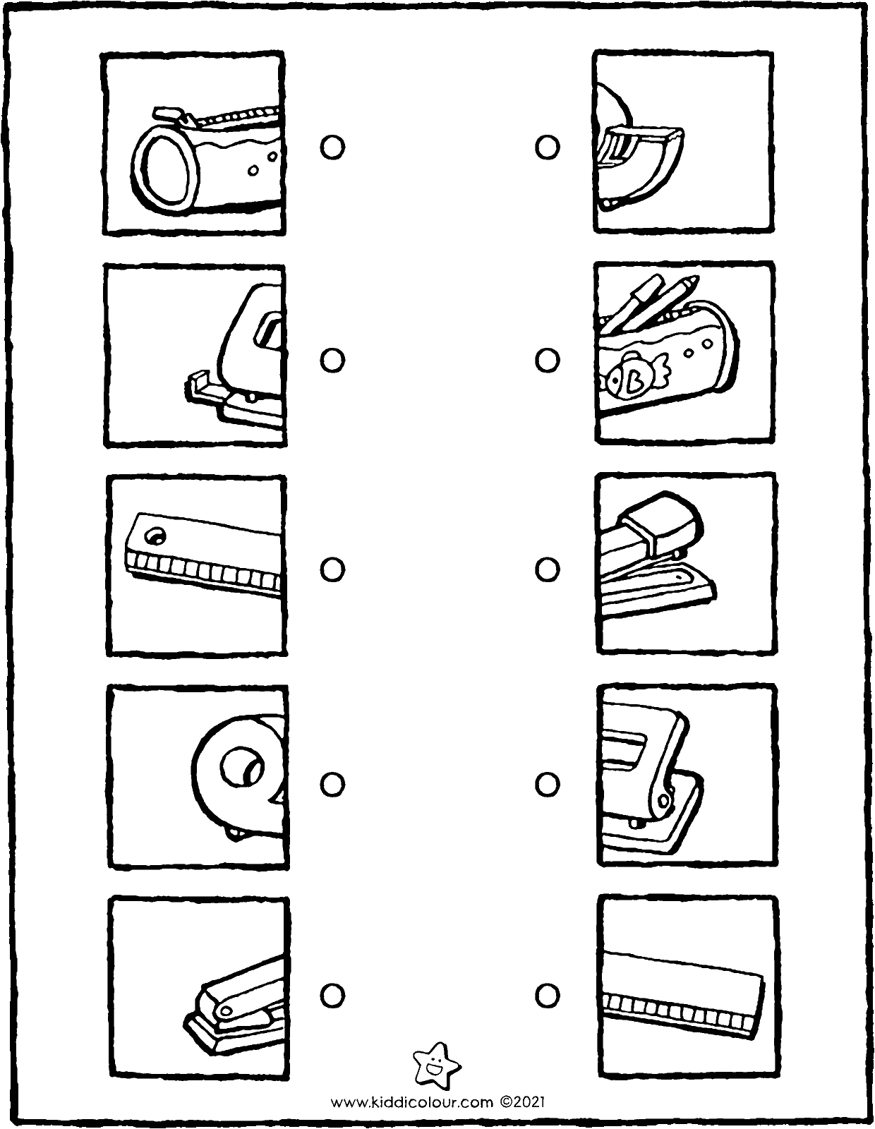 what belongs to what school supplies colouring page drawing picture 01V