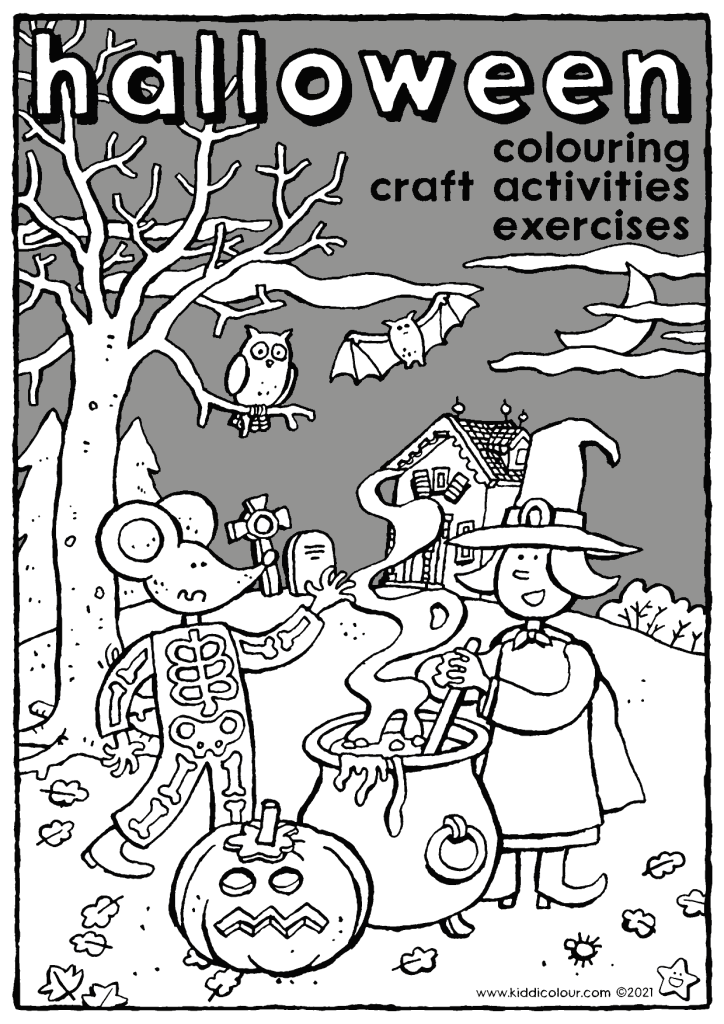 Halloween: colouring, craft activities and exercises