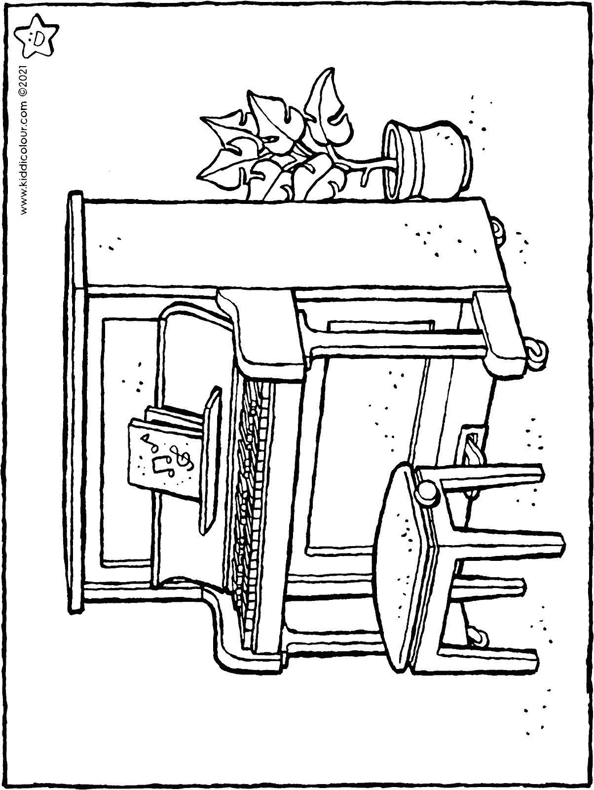 piano colouring page drawing picture 01H
