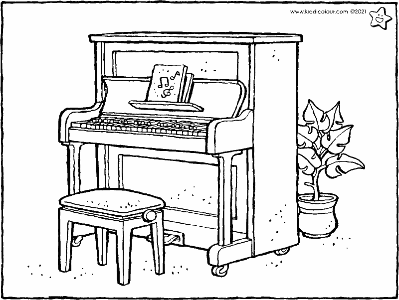 piano colouring page drawing picture 01k