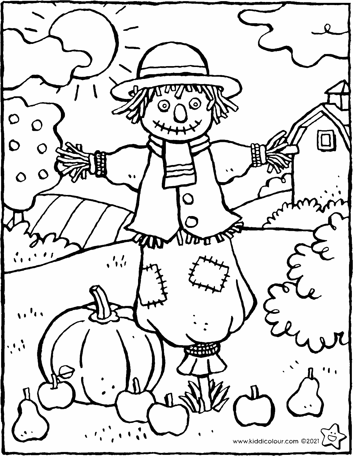 scarecrow in the garden colouring page drawing picture 01V