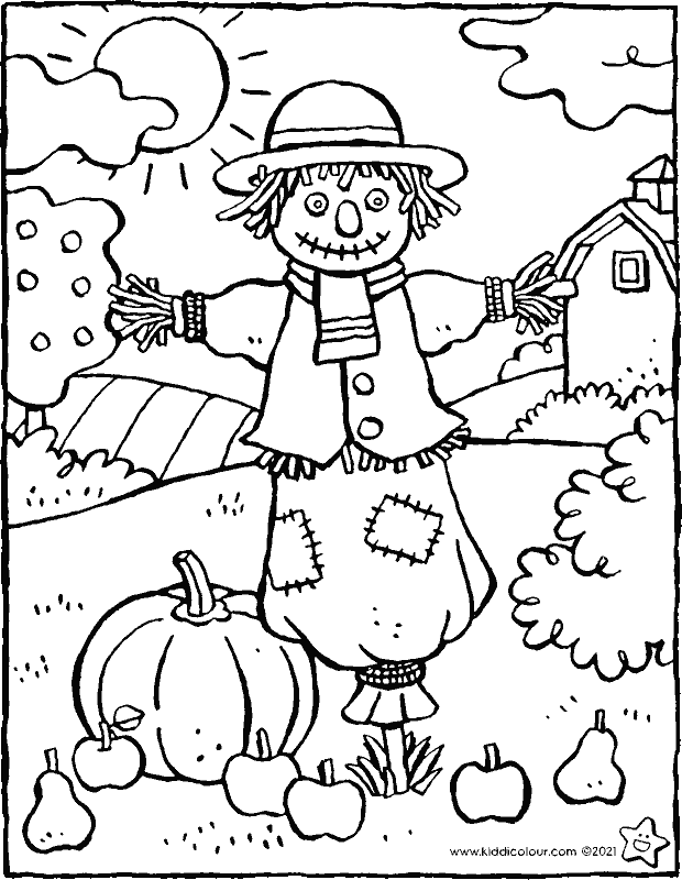 scarecrow in the garden colouring page drawing picture 01k