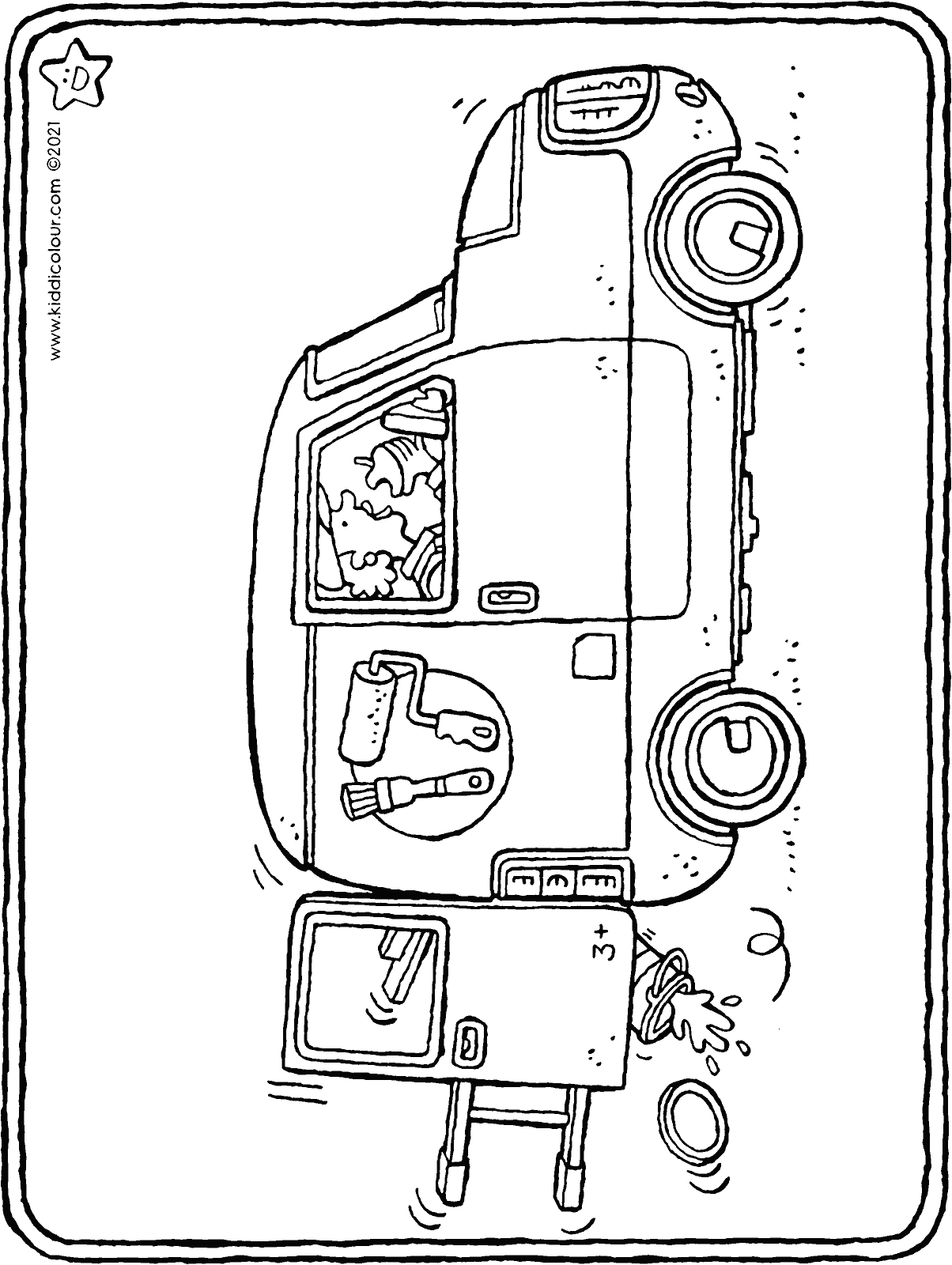 small painter's van colouring page drawing picture 01H