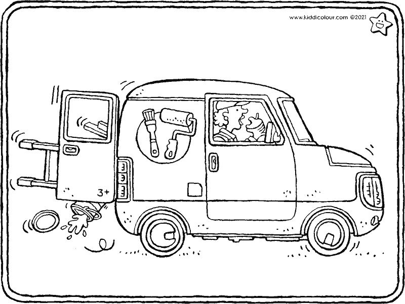 small painter's van colouring page drawing picture 01k
