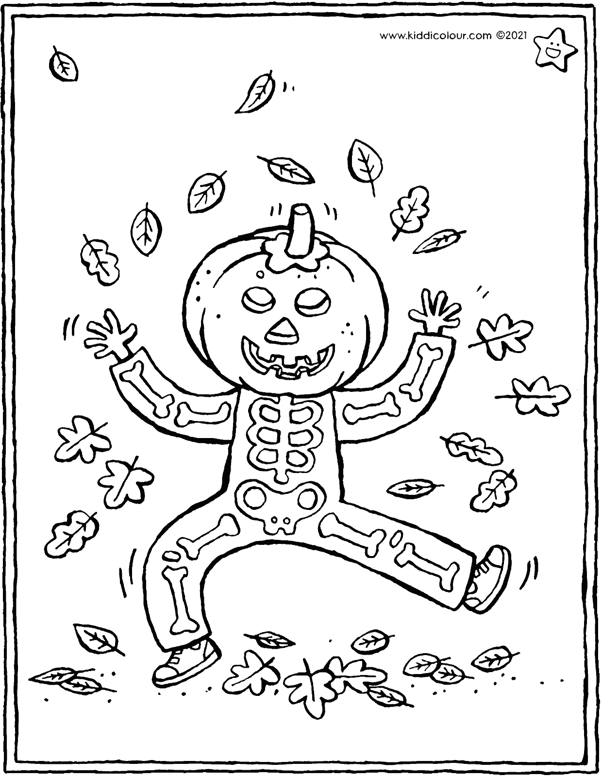 dancing Halloween pumpkin coloring page - drawing - colouring picture 01V