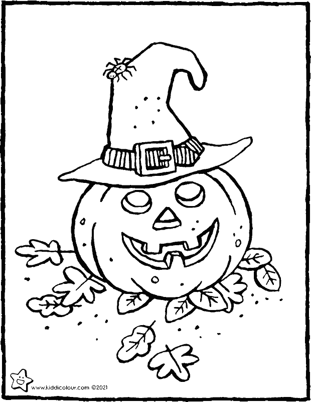 pumpkin with witch's hat coloring page - drawing - colouring picture 01k